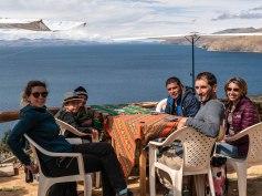 Irini, Franck et Romane au lac Titicaca
